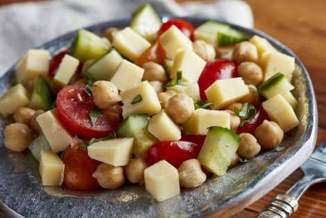 Cucumber, Tomato and Chickpea Salad with Saxony Cheese